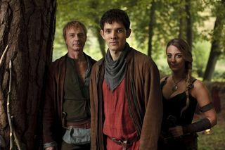 "Merlin's Colin Morgan flanked by ""The Sword in the Stone"" guest-stars Ben Daniels and Miranda Raison."