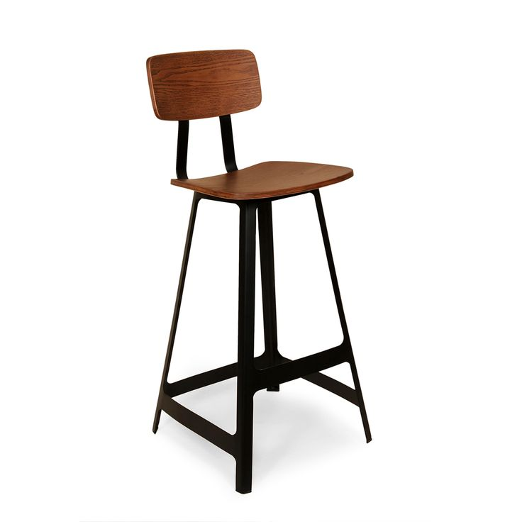 Stockholm Stool | This stool harkens back to the timeless feel of 19th-century schoolhouses and adds a modern touch with its angular base design. The clean lines create an understated look that heightens the body. Constructed out of laser-cut steel and plywood, the stool will last for years to come. Powder-coated to resist rust.