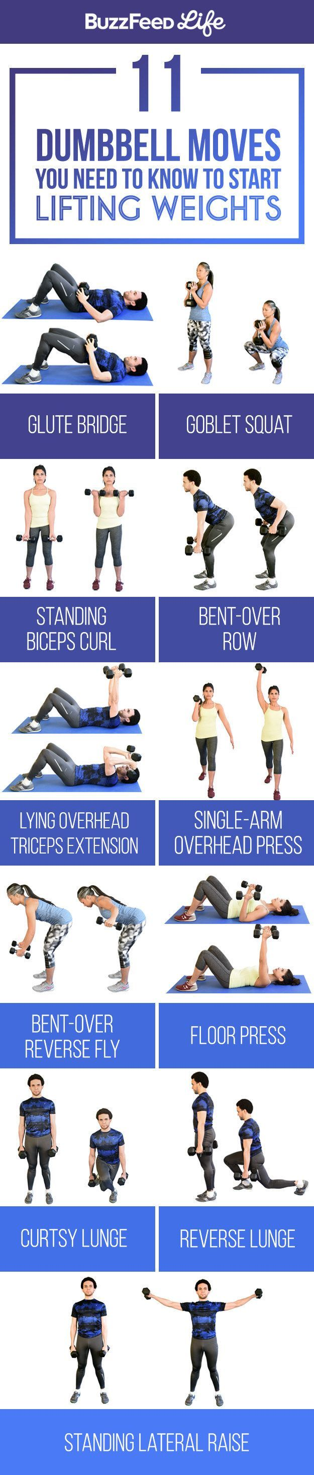11 Dumbbell Moves You Should Know To Start Lifting Weights #workouts #weights #fitnesstipsandtricks