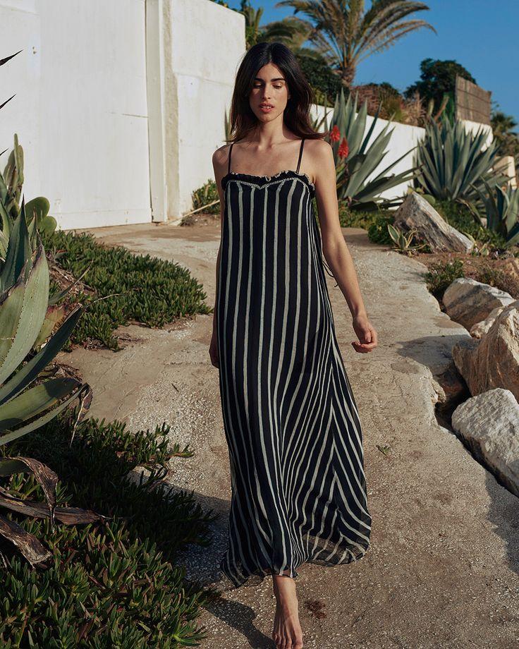 HIGHLAND - Chiffon dress - Black & White Stripe – Nanushka Online