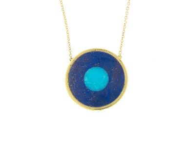 Lapis Inlay and Turquoise Center Evil Eye Necklace - Yellow Gold by Jennifer Meyer