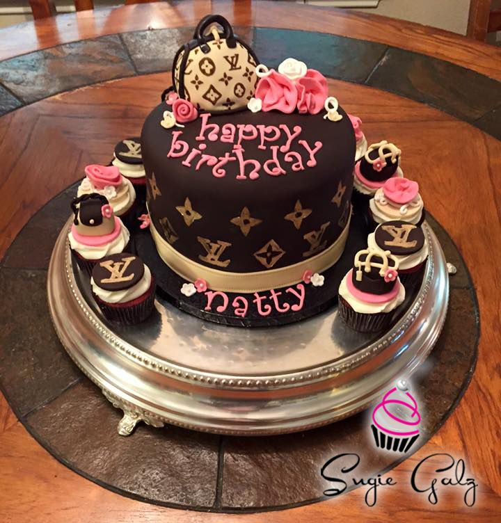 Louis Vuitton Themed Birthday Cake Cupcakes By Sugie Galz In Austin Texas