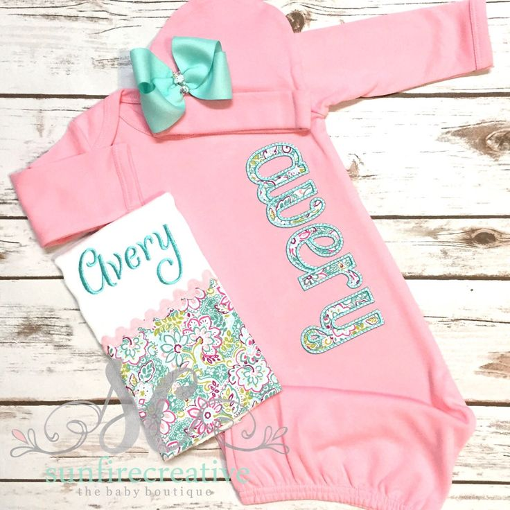 Girl Coming Home Outfit - Baby Girl Gown - Baby Girl Bring Home Outfit - Baby Pink Sleeper With Bow - Baby Name Gown - Take Home Outfit by sunfirecreative on Etsy https://www.etsy.com/listing/241367812/girl-coming-home-outfit-baby-girl-gown