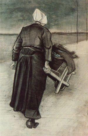 Woman with wheelbarrow Vincent Van Gogh