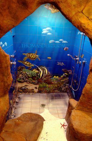 Surprising Bathroom Blue Coral Color