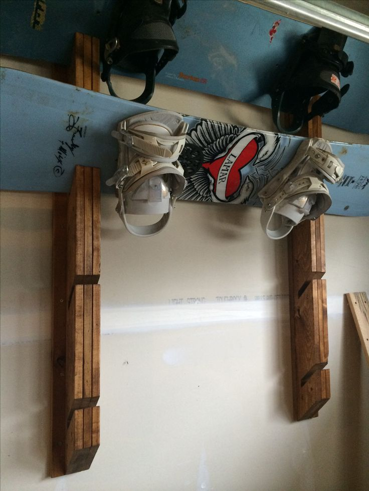 Snowboard rack - used 1x4. Notched a 45• angle. Stained it. Attached it to another 1x4 on back. I hung it on the wall by screwing the 1x4 into the studs. So it was nice and easy to hang.