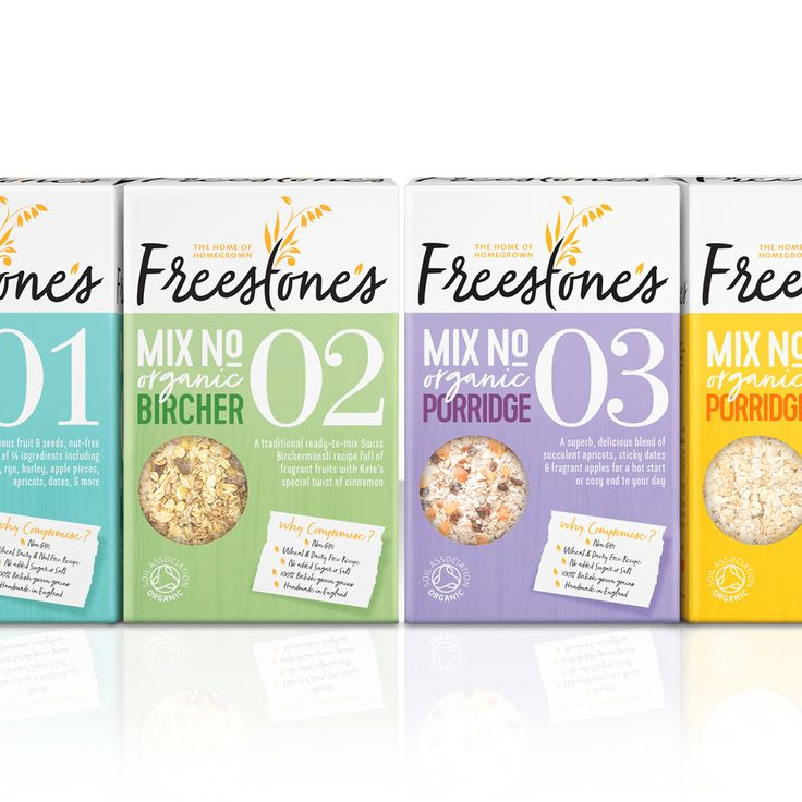 Slice Design has created the brand identity and packaging graphics for Freestone's launch product range, which includes two mueslis and two porridges.