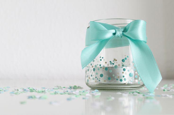 Konfetti-Teelicht für die Kaffeetafel | DIY Hochzeit