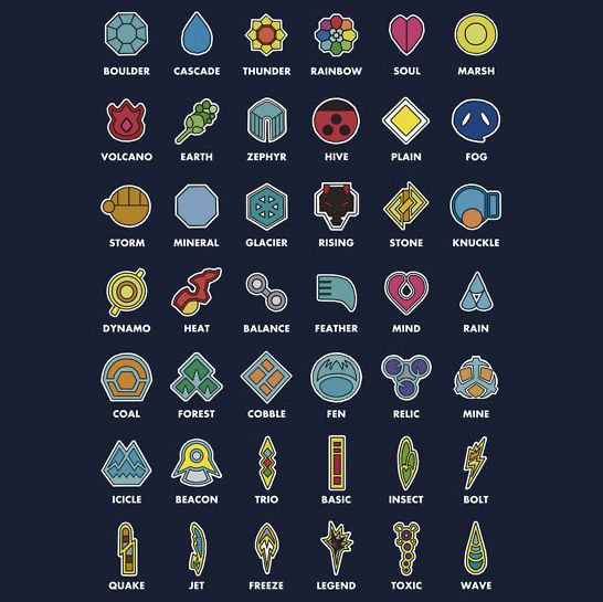 Pokemon Badges Created by polyhata Available on RedBubble Note from Artist: An illustrated list of the Gym Badges collectable from the Pokémon games, from Kanto to Unova. Let me know what you think! Does not include the Orange Islands since they're not in the games.