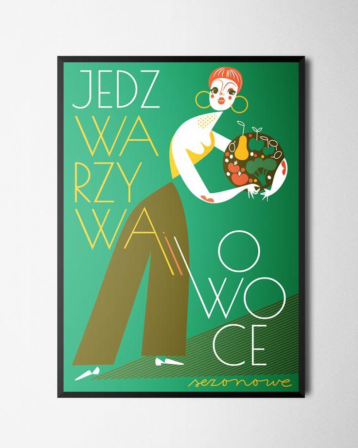 Plakat Jedz warzywa sezonowe B2, Bogucka