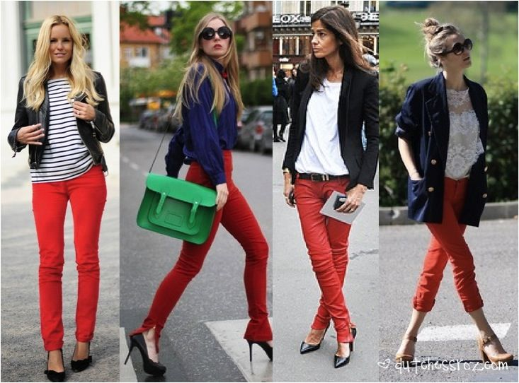 4 ways to wear red jeans. Rocked the first look today :)