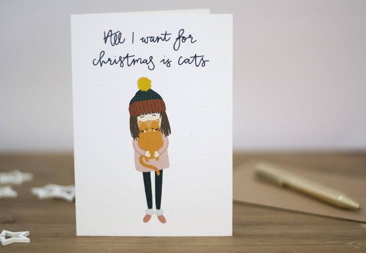 All I want for Christmas is cats, cat lover card, cat Christmas by KnightandGray on Etsy