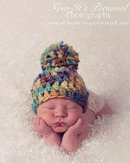 Crochet Baby Hat Pattern With Pom Pom : Crochet Hat PATTERN - Baby Handspun Pom Pom Beanie Crochet ...