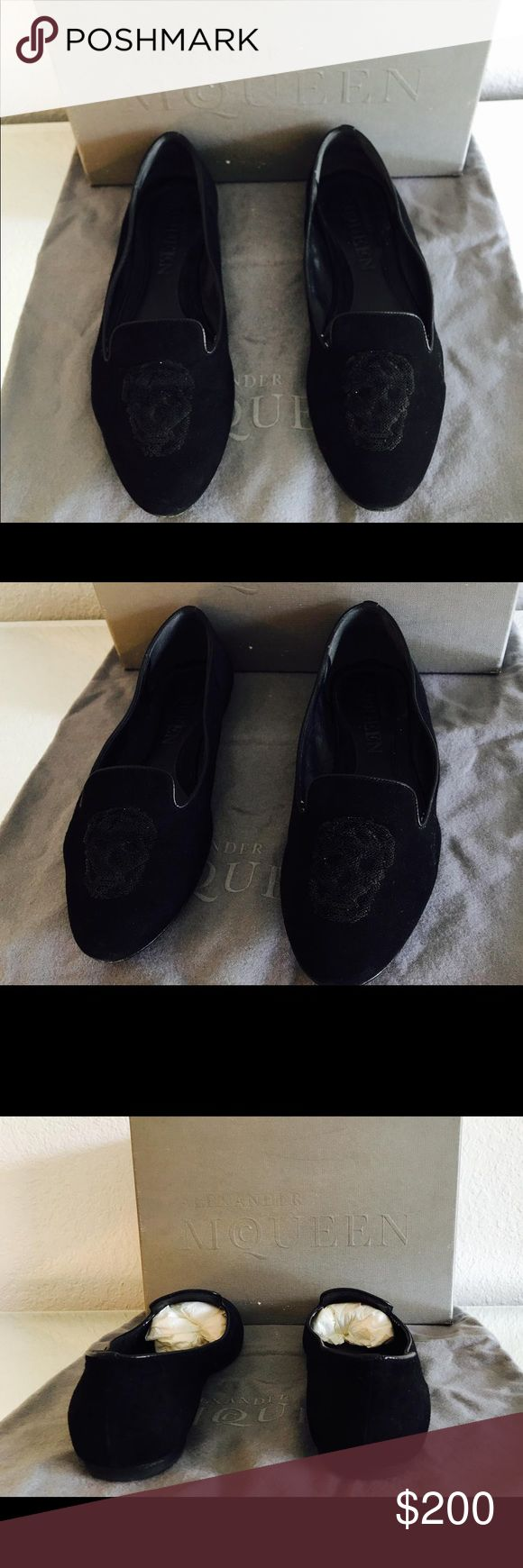 Alexander McQueen Loafers Alexander McQueen Loafers   Pre-loved   Size: 37  Color: Black   Details: Alexander McQUEEN black suede loafer with signature skull. Sequined skull on toe of shoe. These shoes are sized as a 37. Very comfortable, Country of Origin: Italy.     Retail: $645.00 + Tax  Our Price: $200.00  Thanks for stopping by to visit us!  Vanity's Vault Alexander McQueen Shoes Flats & Loafers