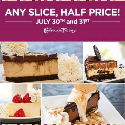 The Cheesecake Factory: 1/2 Price Cheesecake (July 30th & 31st) – Hip2Save