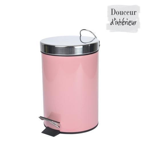 Poubelle m tal 17 x h 26 cm rose poudr sdb salle de bain accessoires salle de bain - Poubelle salle de bain rose ...