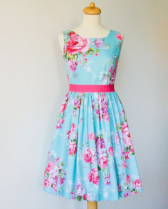 Bridesmaid dress Blue Dress, floral dress, cotton dress, pinup tea party dress, 50's dress, mad men dress CUSTOM MADE on Etsy, $95.00
