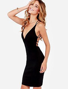 Women's Sexy Solid Bodycon / Loose Dress , Deep V Above Knee... – USD $ 9.99