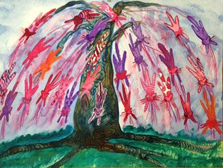 Artist: Kristine Erglis   Title: Pussy-Willow Tree    Painting