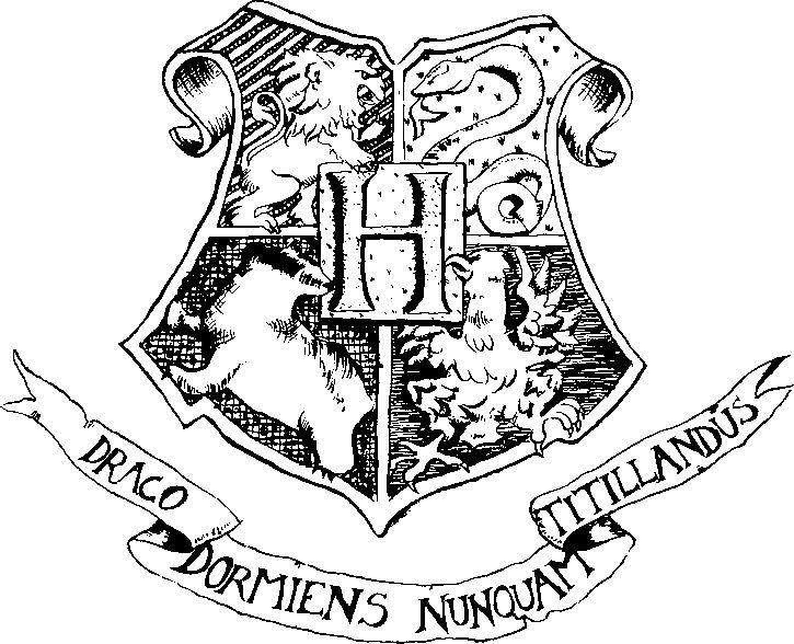 Gryffindor Crest Black And White hogwarts crest clipart graphic--in ...
