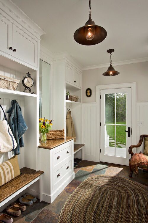 Mudroom flooring, STORAGE, style, would raise seating some and add cushion (durable, pet-friendly)