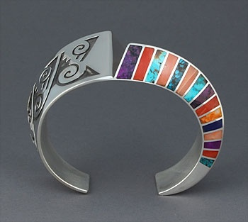 Lonn Parker (Navajo) | Sterling silver hollow-form cuff bracelet with overlay and multi-stone inlay including spiny oyster, turquoise, lapis, sugilite, coral and chinese writing stone