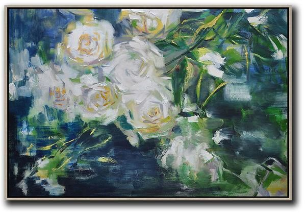 Horizontal Abstract Flower Painting #LX4C