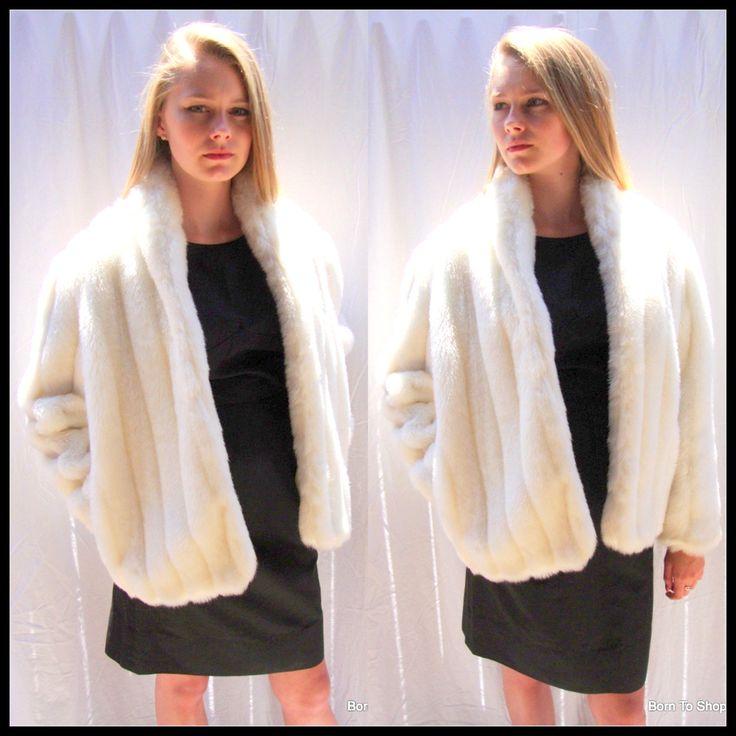 White faux fur jacket, Vintage 1970s, white fur coat, white mink cat, white fur wedding jacket, Rondo Casual,  sz med by BornToShopVintage on Etsy