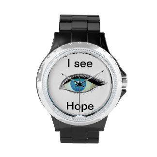I watch and see hope blue eye wrist watch