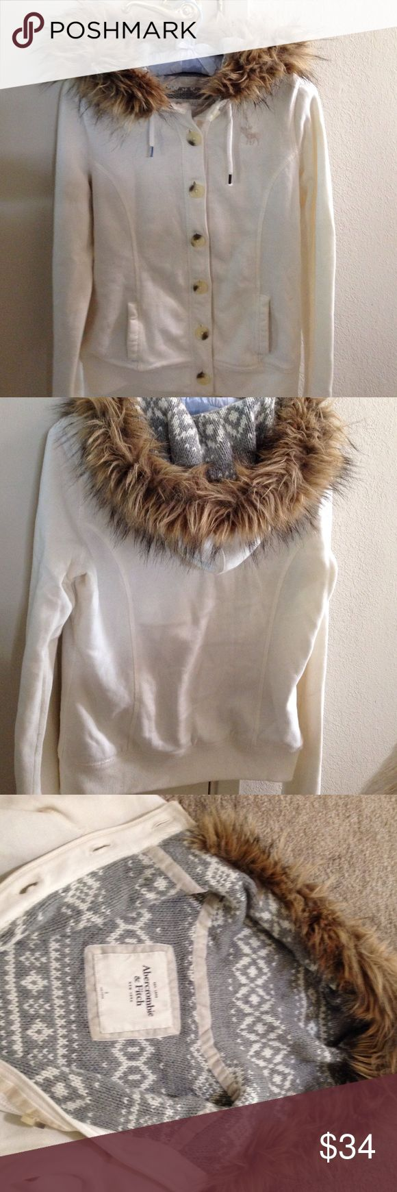 Abercrombie and Fitch button up hoodie Abercrombie and Fitch button up, two front pocket hoodie. Inside is beautiful knitted design in a gray and white.. Excellent condition other than one small spot see photo. Abercrombie & Fitch Jackets & Coats