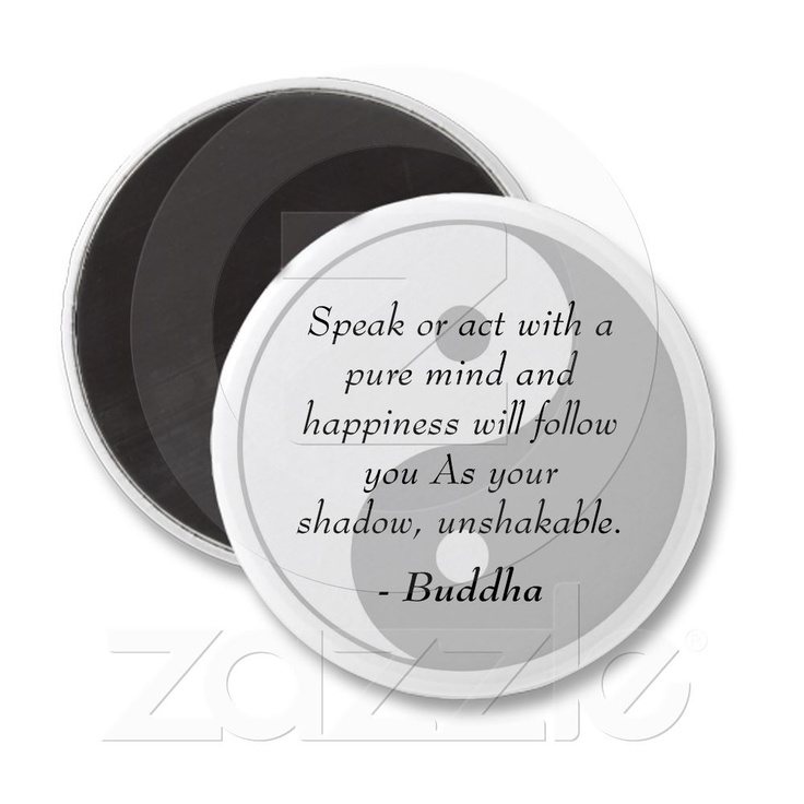 Famous Buddha Quotes - Pure Mind and Happiness Fridge Magnets from Zazzle.com