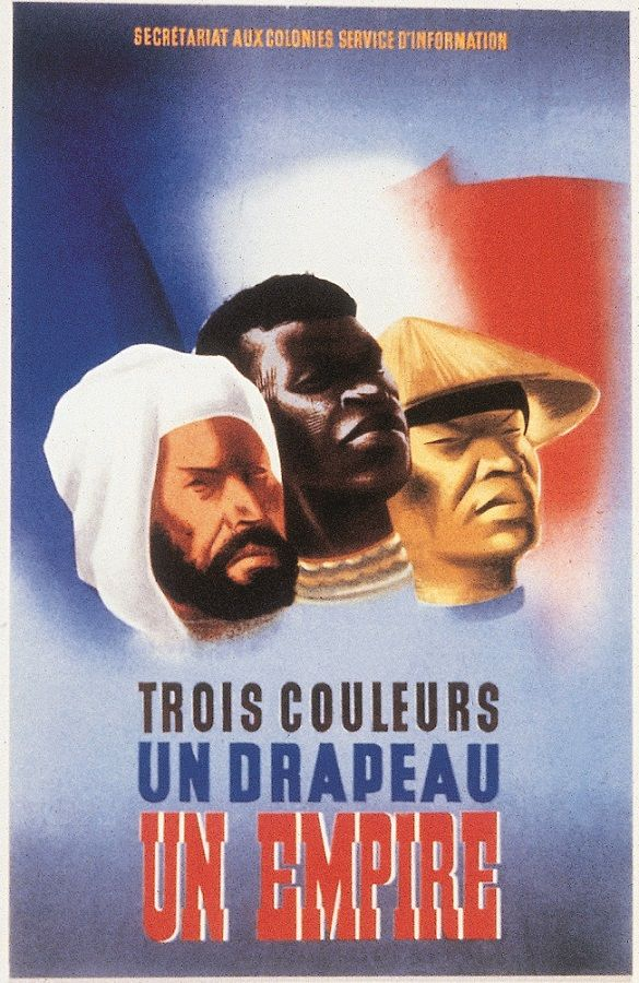 "France, WWII: ""Trois couleurs, un drapeau, un Empire "" (Three colors, one flag, one Empire). 1940. Artist: Eric Castel. Publisher: Secrétariat d'Etat aux colonies. (La Bibliothèque de documentation internationale contemporaine, Paris)"