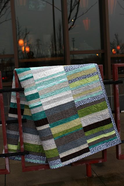 "A Quilter's Table: A Maisy Quilt for Christmas  wonky strip blocks 9 1/2"" x 10 1/2"", basically working from the center out."