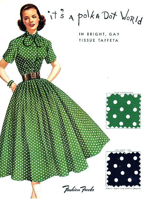 "Polka Dots •~• vintage ""It's a polka dot world"" green & white dress, 1950s @vintageclothin.com"