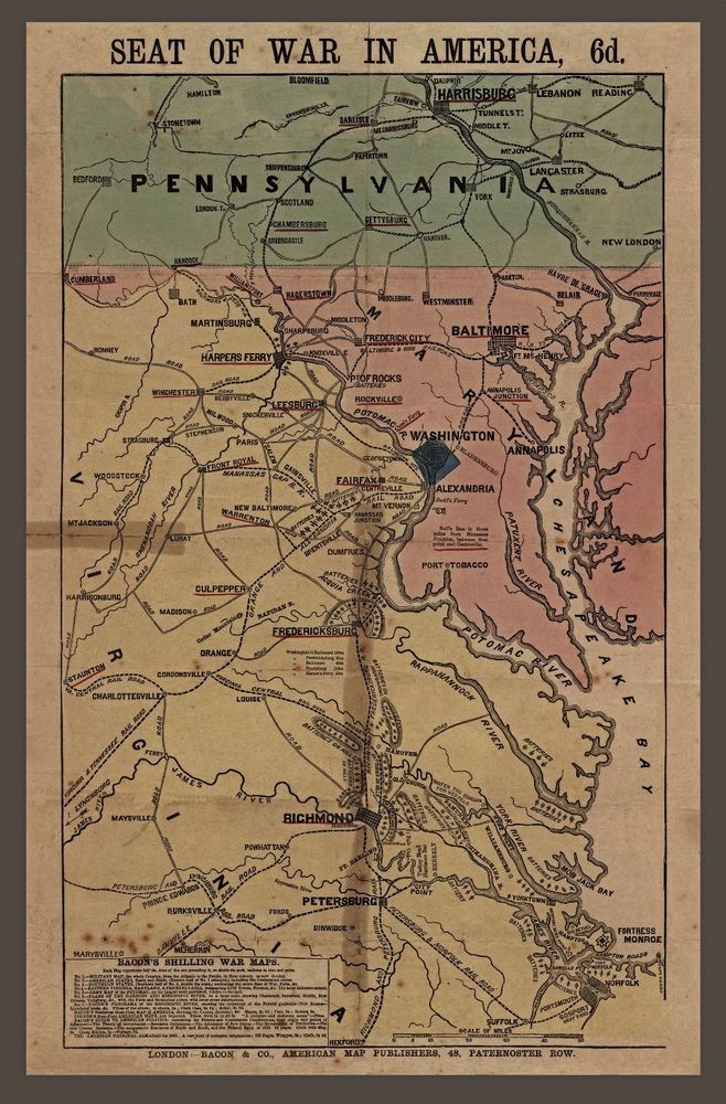 Map Of Oregon Deserts%0A Civil War Map  Seat of War  Pennsylvania  Virginia  antique military