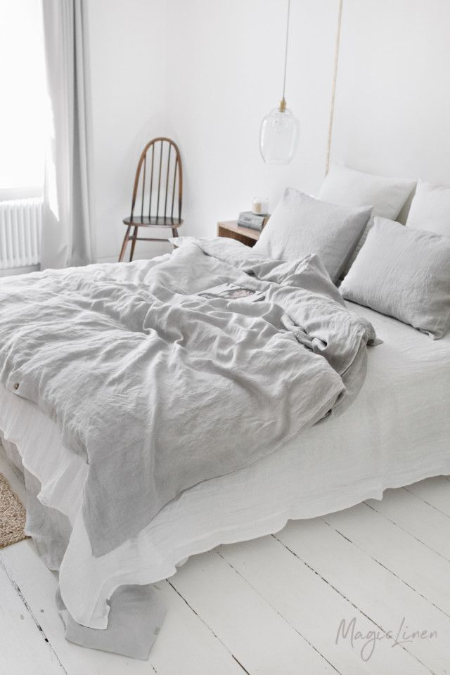 Best Light Gray Linen Duvet Cover Room Decor In 2019 Fitted 400 x 300