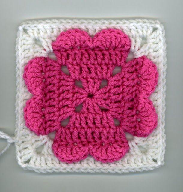 motivo quadrado em crochet