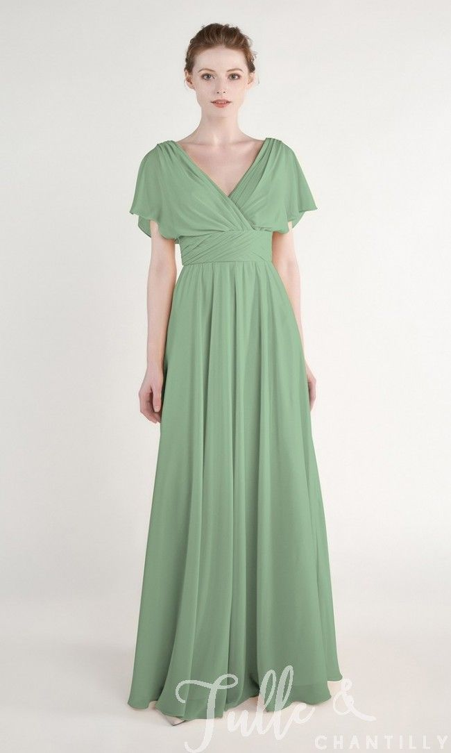 e9dd9eed9fd Moss Green Elegant Chiffon Long V Neck Bridesmaid Dress with Cap Sleeves  TBQP441