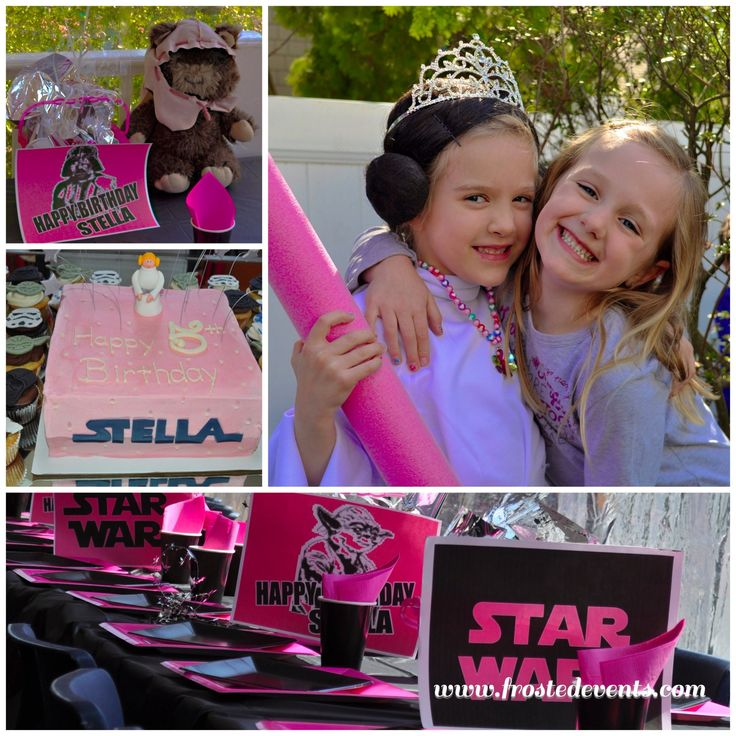 Star Wars party ideas, Star Wars birthday party for girls in Hot Pink Princess Leia style with DIY Printable Star Wars party supplies and decorations via Misty Nelson @frostedevents