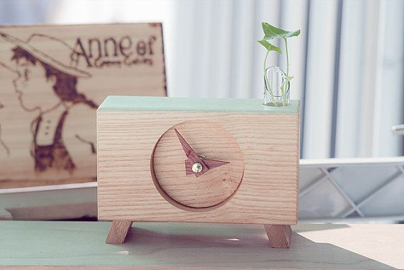 Hand made Ash wood Clock Desk clock  Leg by Namuwana on Etsy