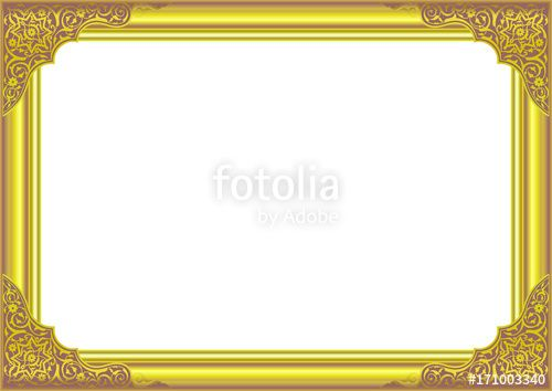 Vector: Gold Frame with Floral ornament on corner