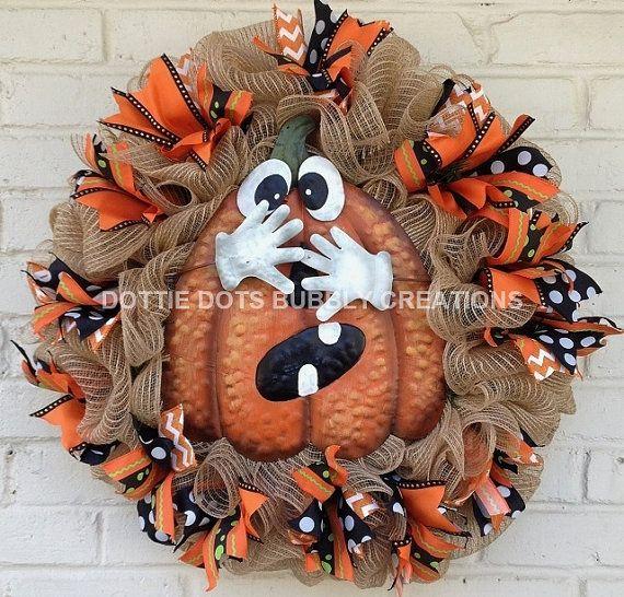 JUute Halloween Shy Pumpkin/Jack-O-Lantern Wreath by dottiedot05