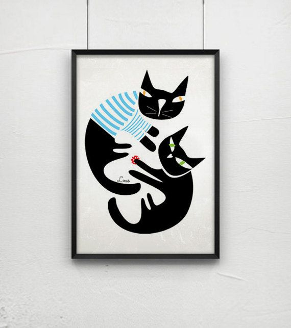 Hey, I found this really awesome Etsy listing at http://www.etsy.com/listing/102548939/black-cats-print-cat-art-black-cats