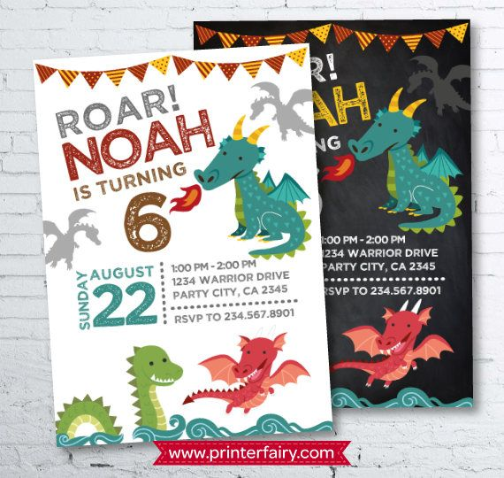 Dragon Invitation Dragon Birthday Party Knight Invitation
