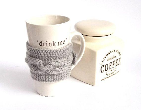 Tasse à café Cozy en tricot gris. Mug tricot confortable. Couvre-théière tasse tricotés à la main. on Etsy, 13,94$ CAD