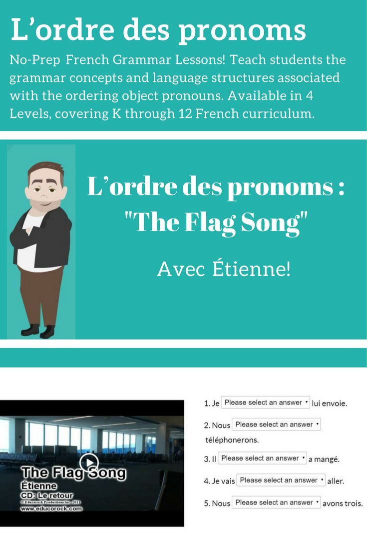 No-Prep French Grammar Lessons! Fully online, interactive activities and tests available in 4 Levels, spanning K to 12 curriculum expectations. Try it FREE for 30 days!