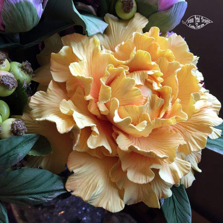 DECO clay peony. Hand made and painted one petal at a time by Kathy Peterson / Artisan Petals Design.