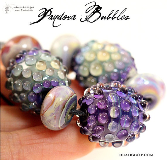 designer lampwork bead set pandora bubbles 5 by