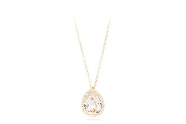 JEWELS | TEAR | Brosway #brosway #tear #collection #cristal #gold Collana in acciaio 316L con ciondolo a forma di goccia, pvd oro e cristallo Swarovski