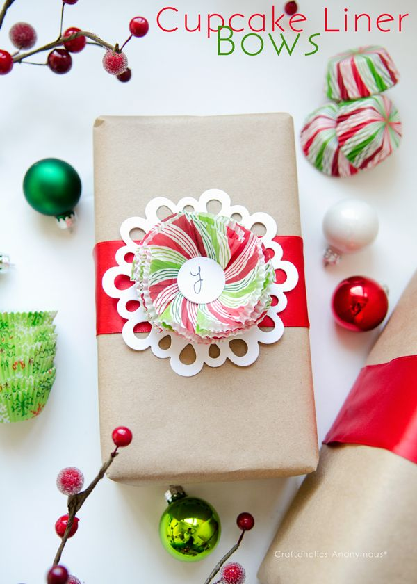 cupcake liners + paper doily gift wrap idea